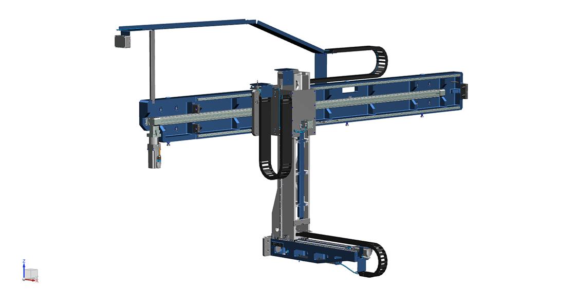 SSEB Systems Transfersysteem FLX is een automatiseringssysteem voor nieuwe en bestaande, hydraulische persen. Met het systeem kunnen platines en halffabricaten automatisch ingelegd, doorgelegd en uitgehaald worden.