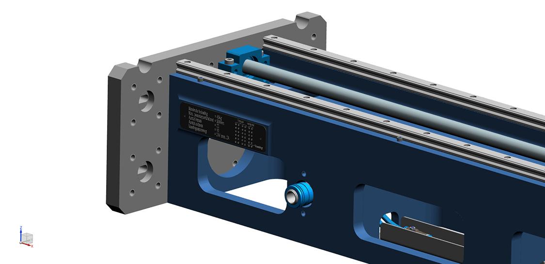 Detail van kop van FLX. SSEB Systems Transfersysteem FLX is een automatiseringssysteem voor nieuwe en bestaande, hydraulische persen. Met het systeem kunnen platines en halffabricaten automatisch ingelegd, doorgelegd en uitgehaald worden.