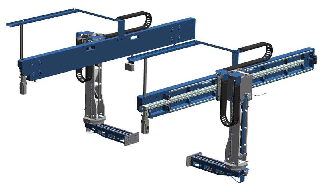 FLX190 Dubbel Rendered NX. SSEB Systems Transfersysteem FLX is een automatiseringssysteem voor nieuwe en bestaande, hydraulische persen. Met het systeem kunnen platines en halffabricaten automatisch ingelegd, doorgelegd en uitgehaald worden.